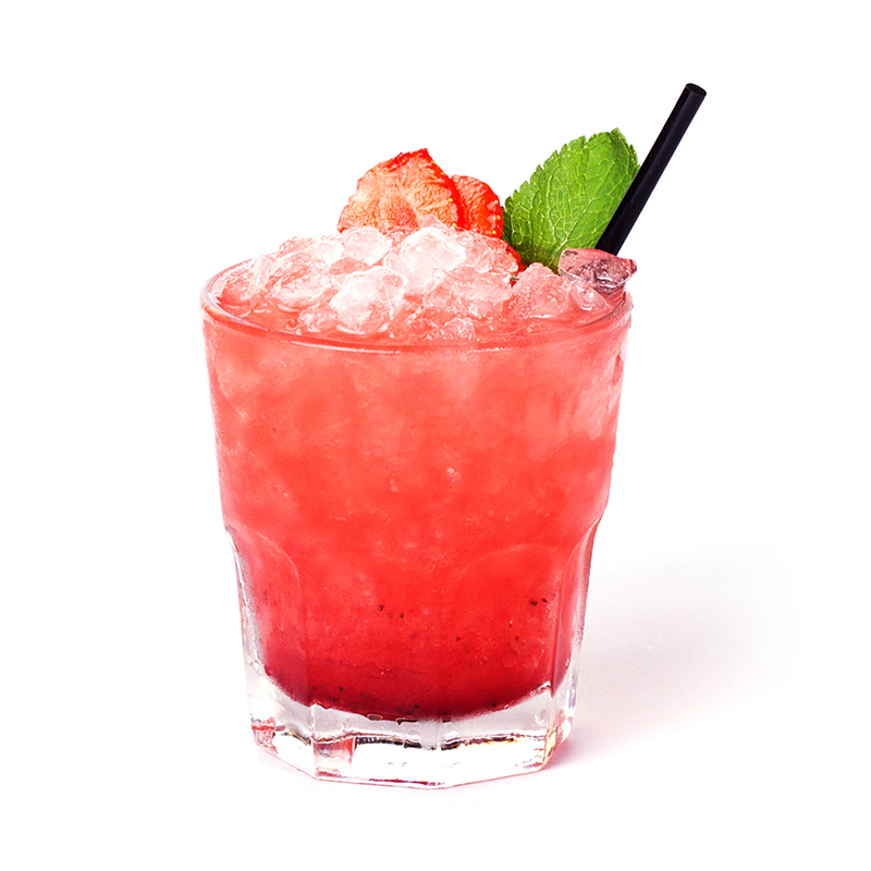 red strawberry cocktail with mint